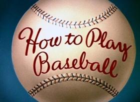 Screenshots from the 1942 Disney cartoon How to Play Baseball