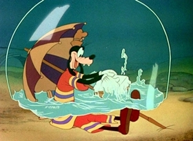 Screenshots from the 1942 Disney cartoon How to Swim