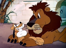 Screenshots from the 1942 Disney cartoon Pluto at the Zoo