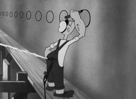 Screenshots from the 1942 Paramount / Famous Studios cartoon A Hull of a Mess