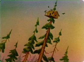 Screenshots from the 1942 Walter Lantz cartoon Nutty Pine Cabin