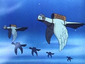 Screenshots from the 1942 Walter Lantz cartoon Pigeon Patrol