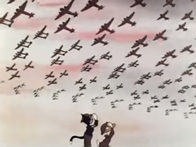Screenshots from the 1943 Terrytoons cartoon Scrap for Victory