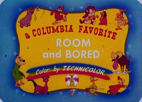 Screenshots from the 1943 Columbia cartoon Room and Bored