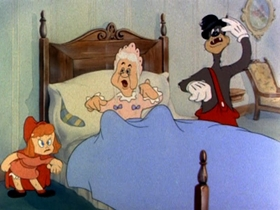 Screenshots from the 1943 MGM cartoon Red Hot Riding Hood