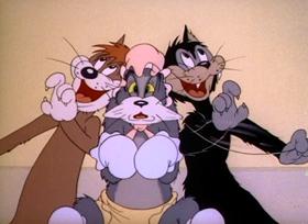 Screenshots from the 1943 MGM cartoon Baby Puss