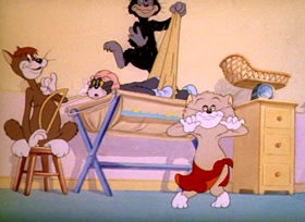 Screenshots from the 1943 MGM cartoon Baby Puss
