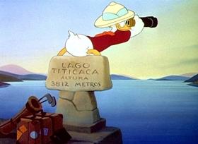 Screenshots from the 1943 Disney cartoon Lake Titicaca