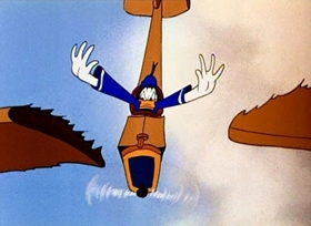 Screenshots from the 1943 Disney cartoon Flying Jalopy