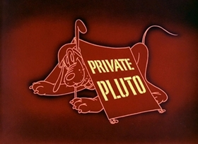 Screenshots from the 1943 Disney cartoon Private Pluto