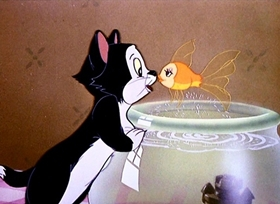 Screenshots from the 1943 Disney cartoon Figaro and Cleo