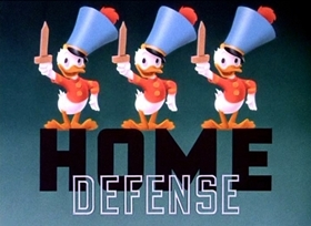Screenshots from the 1943 Disney cartoon Home Defense