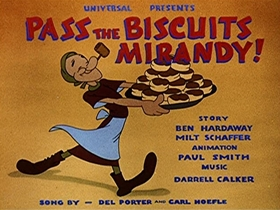 Screenshots from the 1943 Walter Lantz cartoon Pass the Biscuits Mirandy!