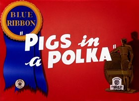 Screenshots from the 1943 Warner Brothers cartoon Pigs in a Polka