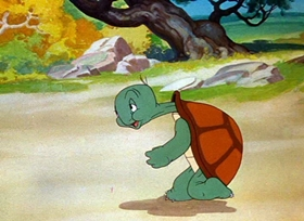 Screenshots from the 1943 Warner Brothers cartoon Tortoise Wins By a Hare