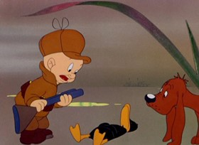 Screenshots from the 1943 Warner Brothers cartoon To Duck or Not To Duck