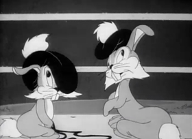 Screenshots from the 1943 Warner Brothers cartoon Hop and Go
