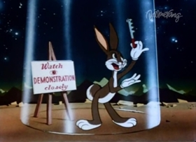 Screenshots from the 1943 Warner Brothers cartoon Jack-Wabbit and the Beanstalk