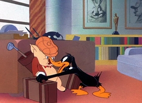 Screenshots from the 1943 Warner Brothers cartoon Yankee Doodle Daffy