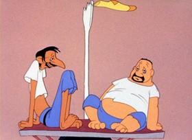 Screenshots from the 1943 Warner Bros. cartoon Wackiki Wabbit