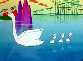 Screenshots from the 1943 Warner Brothers cartoon A Corny Concerto
