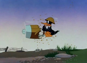 Screenshots from the 1943 Warner Brothers cartoon Daffy the Commando