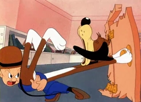 Screenshots from the 1943 Warner Brothers cartoon An Itch in Time