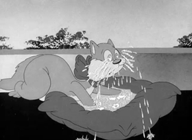 Screenshots from the 1943 Warner Brothers cartoon Puss n