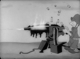 Screenshots from the 1943 Warner Brothers cartoon Fighting Tools