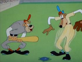 Screenshots from the 1944 MGM cartoon Batty Baseball