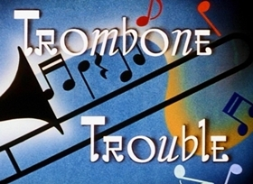 Screenshots from the 1944 Disney cartoon Trombone Trouble