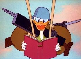 Screenshots from the 1944 Disney cartoon Commando Duck