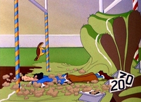 Screenshots from the 1944 Disney cartoon How to Play Football