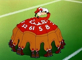 Screenshots from the 1944 Disney cartoon How to Play Football