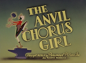 Screenshots from the 1944 Paramount / Famous Studios cartoon The Anvil Chorus Girl
