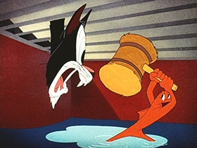 Screenshots from the 1944 Walter Lantz cartoon Fish Fry