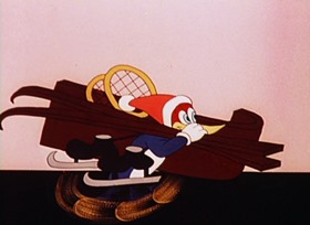 Screenshots from the 1944 Walter Lantz cartoon Ski For Two