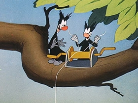 Screenshots from the 1944 Walter Lantz cartoon The Painter and the Pointer