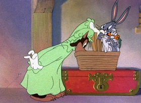 Screenshots from the 1944 Warner Brothers cartoon Little Red Riding Rabbit