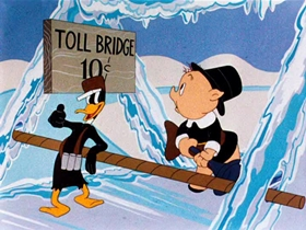 Screenshots from the 1944 Warner Brothers cartoon Tom Turk and Daffy