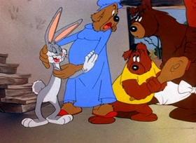 Screenshots from the 1944 Warner Bros. cartoon Bugs Bunny and the Three Bears