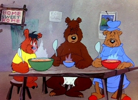 Screenshots from the 1944 Warner Brothers cartoon Bugs Bunny and the Three Bears