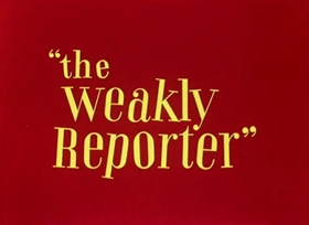 Screenshots from the 1944 Warner Brothers cartoon The Weakly Reporter
