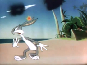 Screenshots from the 1944 Warner Brothers cartoon Bugs Bunny Nips the Nips