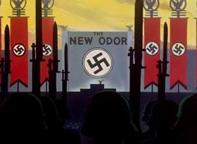 Screenshots from the 1944 Warner Brothers cartoon Russian Rhapsody