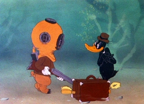 Screenshots from the 1944 Warner Brothers cartoon Duck Soup to Nuts