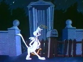 Screenshots from the 1944 Warner Brothers cartoon Angel Puss