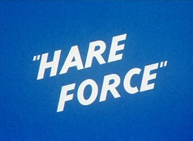 Screenshots from the 1944 Warner Brothers cartoon Hare Force