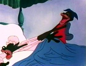 Screenshots from the 1944 Warner Brothers cartoon Goldilocks and the Jivin