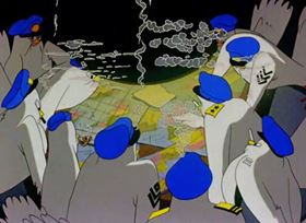 Screenshots from the 1944 Warner Brothers cartoon Plane Daffy